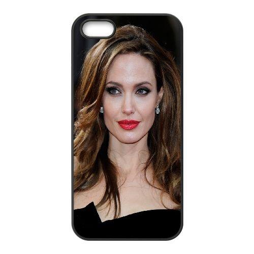 Angelina Jolie21 coque iPhone 5 5S cellulaire cas coque de téléphone cas téléphone cellulaire noir couvercle EOKXLLNCD21657