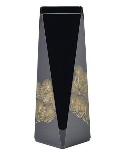 越前塗 越前漆器 日展作家 冨田立山作 沈金松 花器 黒 ガラス製落とし付き サイズ 約11φ×25cm 材質 木製、漆塗、手塗 B0773ZJW61