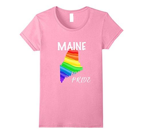 Womens Maine Pride Rainbow Lgbt Flag T Shirt Large Pink