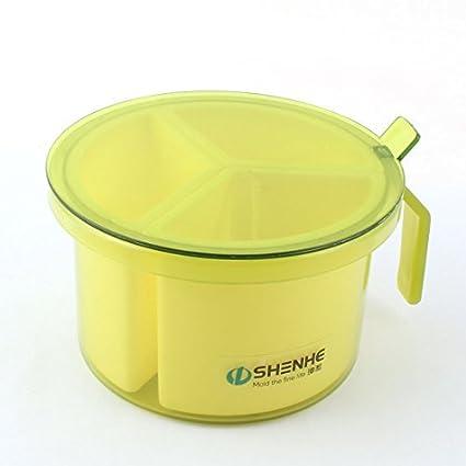 DealMux Plastic Casa Cozinha 3 compartimentos tempero Box Especiarias Condimento Container verde do caso