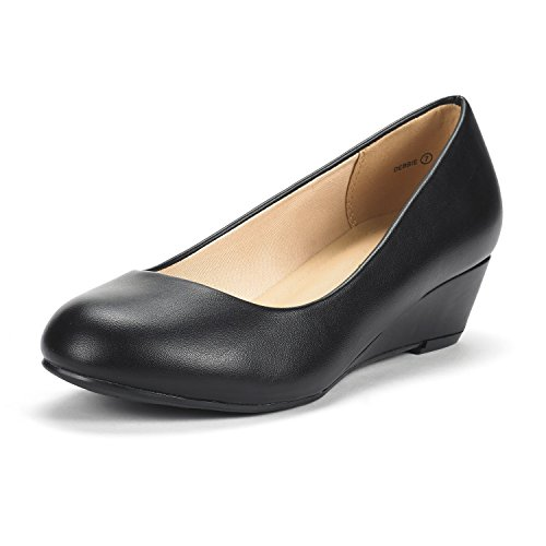 DREAM PAIRS Women's Debbie Black PU Mid Wedge Heel Pump Shoes - 9 M (Black Ballet Pumps)