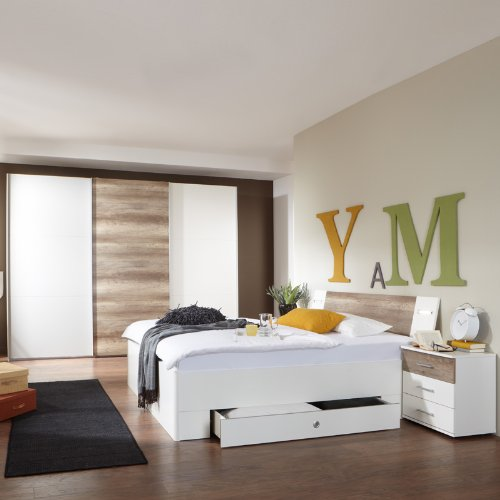 Komplett Schlafzimmer wei - Eiche 313cm Kleiderschrank 180cm Bett Nachtschrank