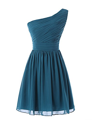 Teal Homecoming Dress (Kiss Dress Women's Short Bridesmaid Dresses One Shoulder Chiffon Prom Gowns (XL, Teal))