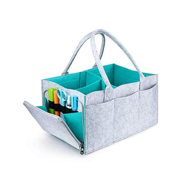 Baby Diaper Caddy – Nursery Storage Bin and Car Organizer for Diapers | Nursery Storage Bin Tote Changing Table | Cute Infant Gift Bag | Portable Car Seat Tote with Zipper Compartment, Newborn Regist