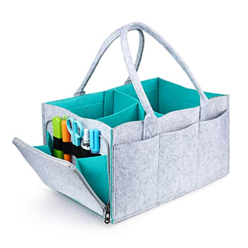 Baby Diaper Caddy - Nursery Storage Bin and Car Organizer for Diapers | Nursery Storage Bin Tote Changing Table | Cute Infant Gift Bag | Portable Car Seat Tote with Zipper Compartment, Newborn Regist