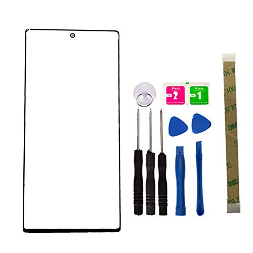 Replacement Repair Front Outer Top Glass Lens Cover Screen for Samsung Galaxy Note 10+ Plus 5G /Note10+ Mobile Phone Curved Surface Parts (No LCD and Touch Digitizer) (Black) (Samsung Galaxy Note 2 Lcd Screen Price)