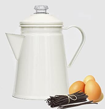 Retro Enamel Stove Top 1L Coffee Perculator in Champagne color