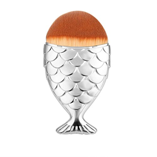 CieKen Pro Makeup Cosmetic Brush Fish Scale Makeup Brush Fishtail Bottom Brush Powder Blush Cosmetic brush Soft And Smooth (Silver 2) (Icon 2 Handle)