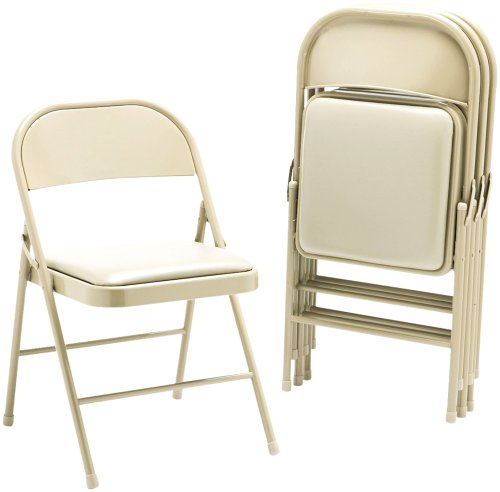 HON FC02LBG Steel Folding Chairs with Padded Seat, Light Beige, Set of Four