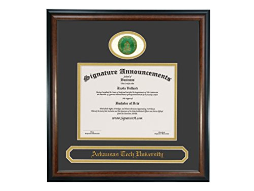 (Signature Announcements Arkansas Tech University (ATU) Undergraduate and Graduate/Professional/Doctor Graduation Diploma Frame with Sculpted Foil Seal & Name (Matte Mahogany, 16 x 16))