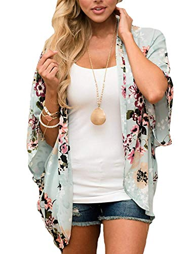 Women Swimsuit Cover Up Floral Kimono Robe Boho Clothing for Women Green, XL