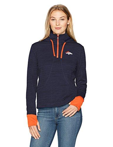 (NFL Denver Broncos Women's OTS Annabelle 1/4-Zip Pullover Hoodie, Light Navy, Large)