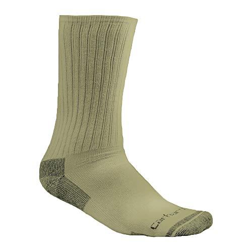 Carhartt Men's Cotton Crew Work Socks 3-Pack Khaki Large (Tan Socks Dress)