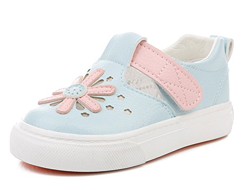 iDuoDuo Girl's Sweet Flowers Baby Dress Sandals Leather Summer Sneakers Blue 11 M US Little Kid by iDuoDuo