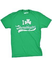 Mens I Clover Shenanigans T Shirt Funny Saint Patricks Day Parade Shamrock Tee