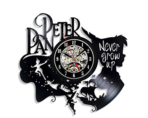 Levescale - Peter Pan Vinyl Wall Clock Captain Hook - Perfect Disney Gift for Girl, Boy Or Kids - Decoration for Playroom, Kids Room - Never Grow Up Fairy Wonderland Wendy Flying (Vinyl Wall Clock Kit)