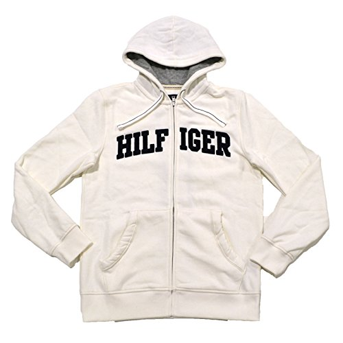 Tommy Hilfiger Mens Classic Full-Zip Fleece Hoodie (White , XX-Large)
