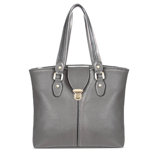 YOLANDO Large Vegan Leather Tote Bag Decorative Front Buckle T0001 (Gray) (Buckle Side Tote)
