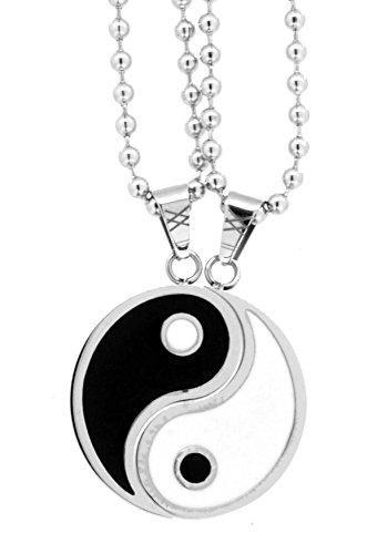 Mandala Crafts Yin Yang Pair of Necklaces, Couple Necklaces, Best Friend Necklaces (Yin and Yang)