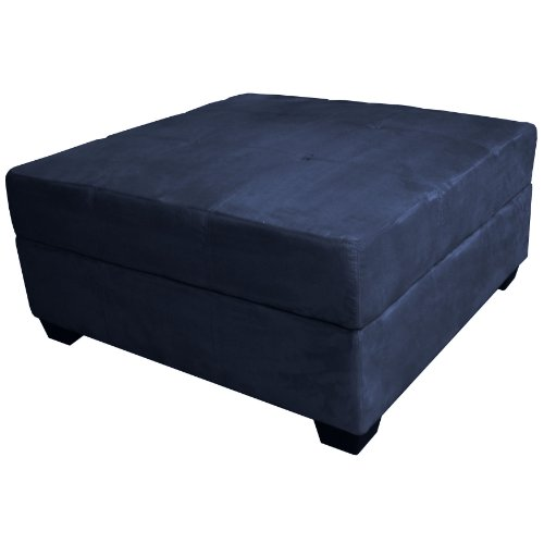 Epic Furnishings Vanderbilt 36-Inch Large Square Tufted Padded Hinged Storage Ottoman Bench, (Navy Blue Storage Ottoman)