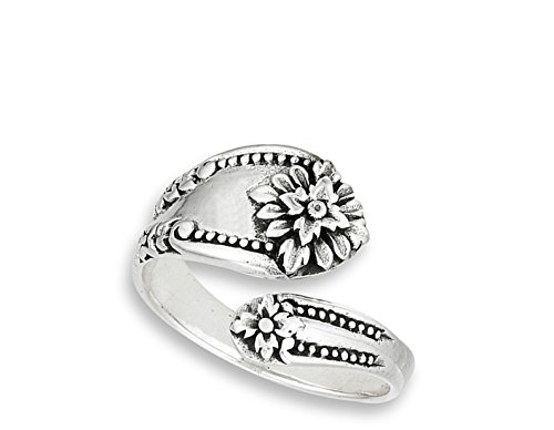 Victorian Flower Open Spoon Ring Vintage New 925 Sterling Silver Band Size 10 by Sac Silver (Image #1)
