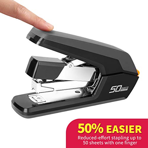 Deli Stapler - Desktop Staplers - One Finger, No Effort, Spring Powered Stapler, 50 Sheet Capacity, Black ()