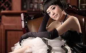 Guantes largos de noche se visten guantes Guantes nupciales wedding guantes banquetes ST101 negro