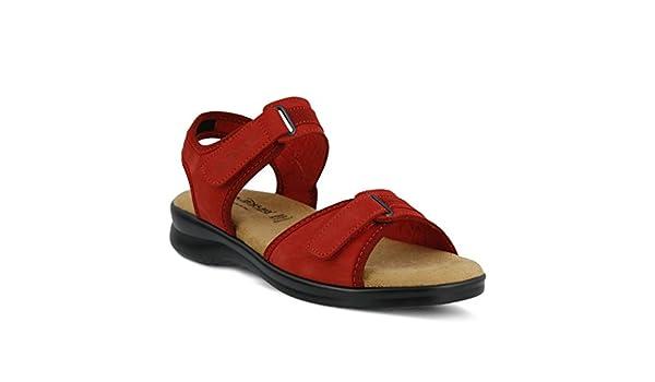 Women's Flexus danila Sandal  Color Red  Women's Nubuck Ankle Strap Sandal