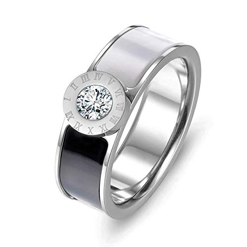 - Designer Inspired Silver Titanium Roman Numerals Love Ring with Enamel and Austrian Crystals (9)