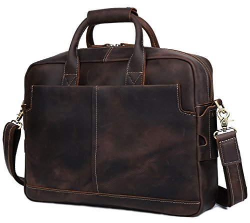 BAIGIO Men Retro Leather Briefcase Laptop Computer Office Business Shoulder Tote Messenger Bag (Dark Brown) by BAIGIO