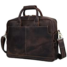 BAIGIO Men's Brown Leather 17 Inch Laptop Briefcase Messenger Tote Bag, Dark Brown