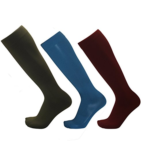 EXCL Compression Socks Women Travel Nurses Pregnancy Diabetes Business Casual Wear Multicolored 3 Pair Teal Blue, Merlot Burgundy, Merlot Olive ()