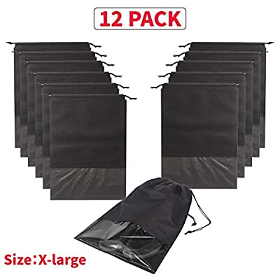 12PCS Travel Shoe Bags Non-Woven Storage with Rope for Men and Women Large Shoes Pouch Packing Organizers, Black
