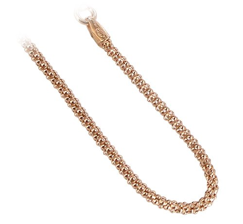 Gem Avenue 14k Gold over .925 Silver Vermeil 1.6mm Popcorn Chain Ankle Bracelet (9'' - 11'' Available) by Gem Avenue (Image #1)