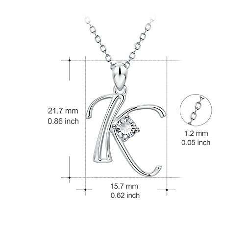 8d77b6579a67d7 YFN Initial K Necklace Sterling Silver Letter Alphabet Pendant Necklace  Jewelry for Women Teen Girls