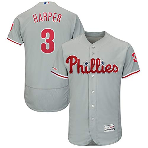 Mitchell & Ness #3 Bryce Harper Philadelphia Phillies Away Flex Base Authentic Collection Player Jersey - Gray L