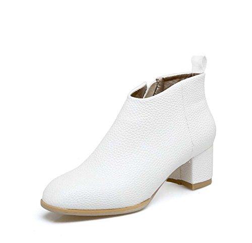 zapatos Mujer Botas Martin Tamaño Botas Zapatos 5cm Tacón Color 32 Ol de Eu Casual de 4 Punta Corte Chunkly Botas Zipper Encantador Botas Shoes de Pura Tobillo 44 S White de Chelsea vestir Color HwfZqnE5