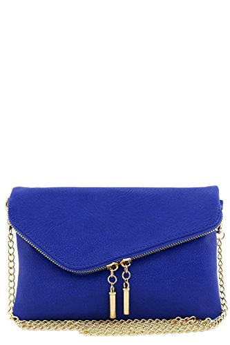 (Envelope Wristlet Clutch Crossbody Bag with Chain Strap (Royal Blue))