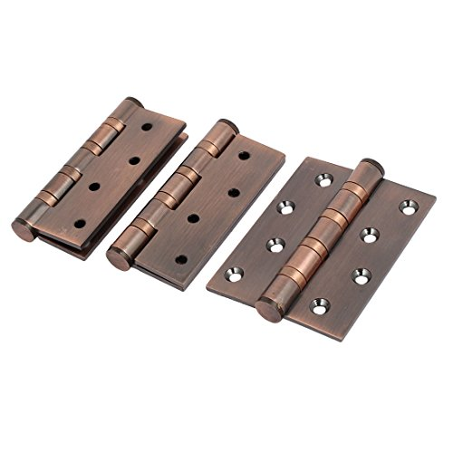 uxcell Stainless Steel Ball Bearing Door Hinge Copper Tone 3PCS ()