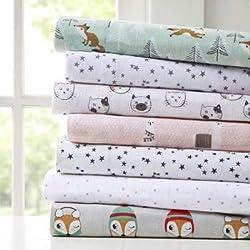 Juego de sábanas de Franela de algodón con diseño Inteligente, Grey/Pink Cats, Individual, 1, 1