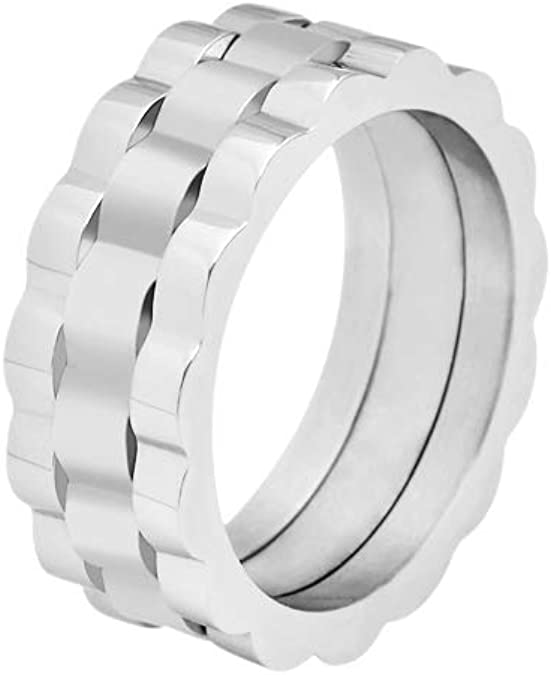 Geoffrey Beene Men S Comfort Fit Oyster Band Stainless Steel Ring