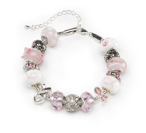 Pink Ribbon Toggle Bracelet (DARICE 1999-5281 Mix and Mingle Starter Jewelery Making Kit with Braclet and Beads, Pink Ribbon)