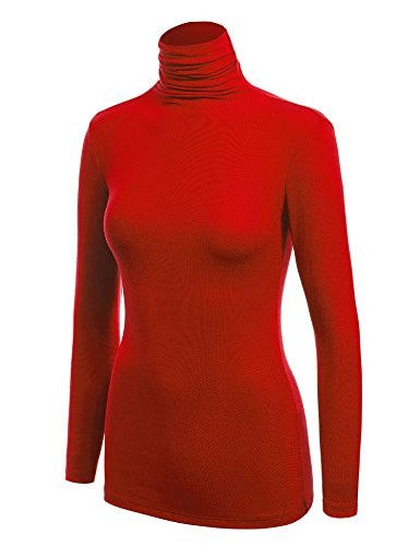 WSK1030 Womens Long Sleeve Ribbed Turtleneck Pullover Sweater L Red