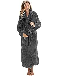 Womens Full Length Hooded Plush Fleece Robe, Long Bathrobe