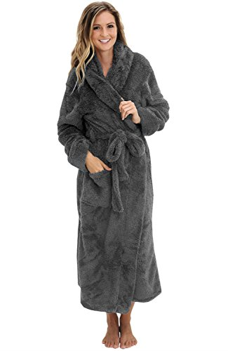 (Alexander Del Rossa Women's Plush Fleece Robe with Hood, Long Warm Bathrobe, Large XL Steel Gray (A0304STLXL) )
