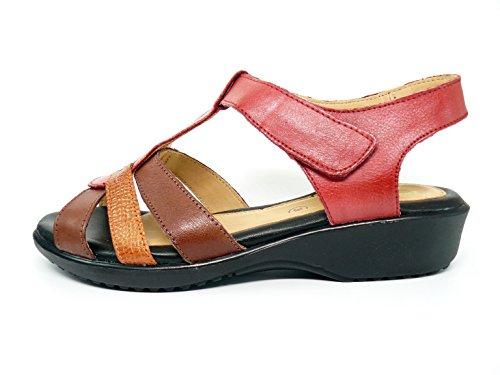 Sandalia mujer marca DOCTOR CUTILLAS en piel color rojo combinada marrón y naranja, cierre velcro - 33854 - 98 Rojo