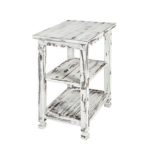 Rustic Cottage End Table with 2 Shelves, White ()