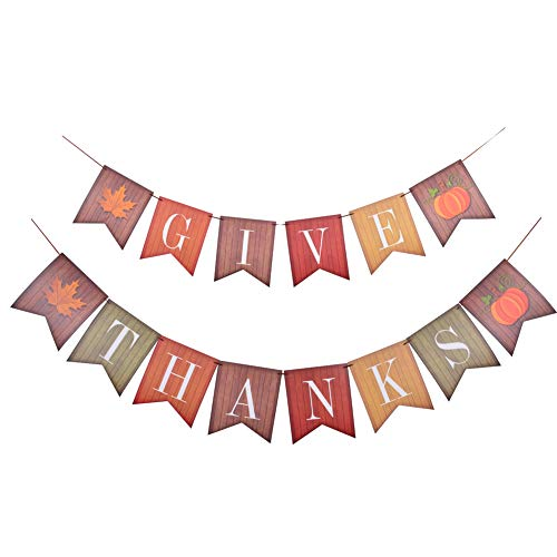 Thanksgiving Day Decorations Fall Banner Bunting - Give Thanks Hanging Garland Party Mantel Décor Supplies