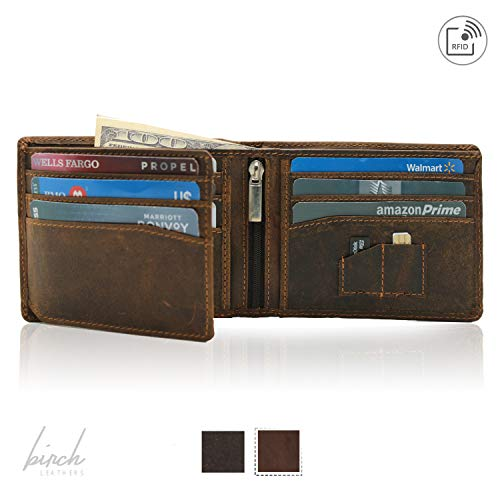 Classic Bi-Fold Hunter leather wallet with sim card, memory card, 9 credit slots, 1 ID Window & RFID protection.