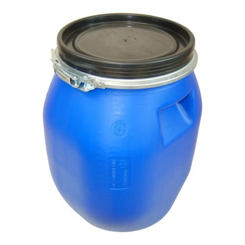Lot of 4 Kegs plastic drum with open lid galvanized locking lever, blue, 30 L (4x22094) by Wilai GmbH